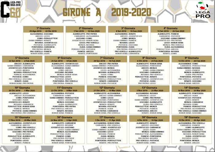 Novara Calcio Ecco Il Calendario 2019 2020 Si Parte Con La Juventus U23
